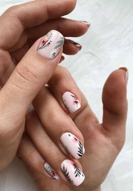 Nail art, nail designs, pink, flower