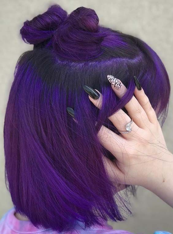 Purple, Hair design