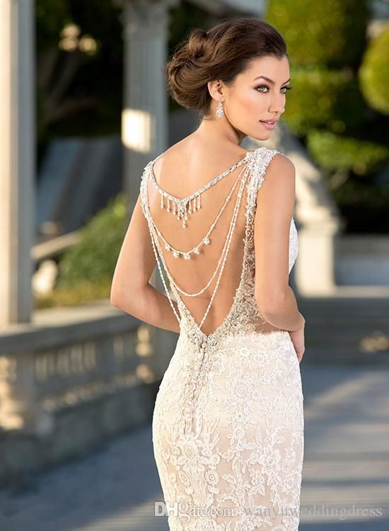 Elegant Backdrop Necklace Ideas For Open Back Wedding Dresses Backdrop Necklace, Jewelry Necklace, Wedding Decoration