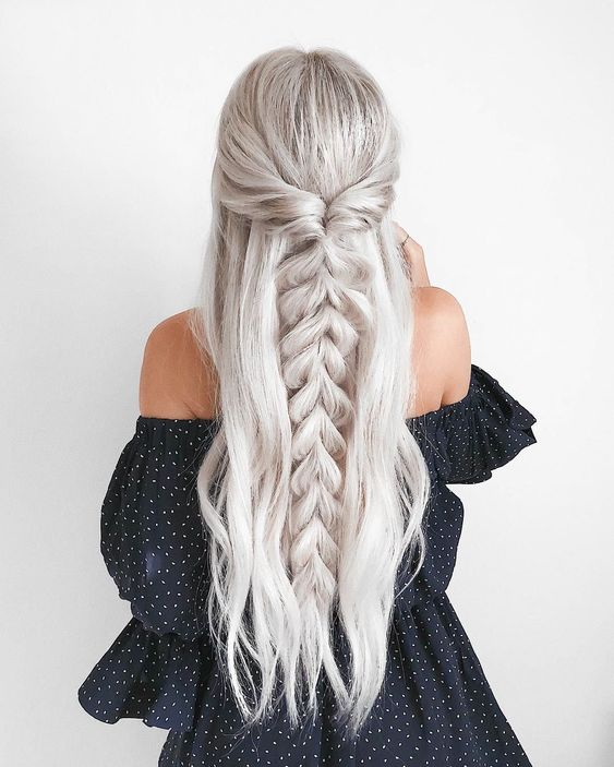 37 Sweet and Simple Half Up and Half Down Hair hair style,half up and half down hair style, hair braid