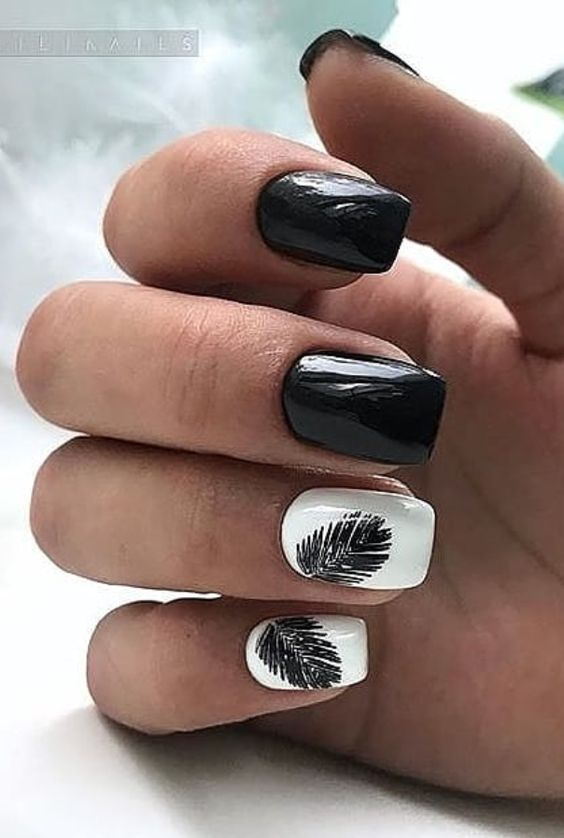 ELEGANT BLACK AND WHITE SHORT NAILS DESIGN IDEAS EXCEPTIONAL LOOK 2020 short nail design art, black and white nail design, simple style