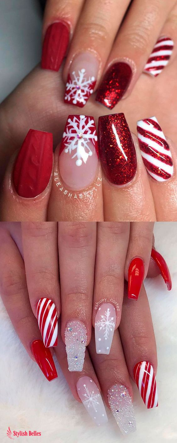 37 Shinning and Beautiful Christmas Nails You Have to See nails, nail design, Christmas nails,Festival nails